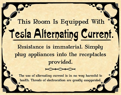 nikola tesla alternating current. this room is equipped with tesla alternating current nikola n